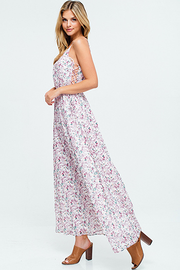 $30 - Cute cheap olive green sleeveless apron front open back tie waisted button side detail boho wide leg culotte jumpsuit - Ivory white floral print halter neck cut out caged laceup side boho evening maxi sun dress
