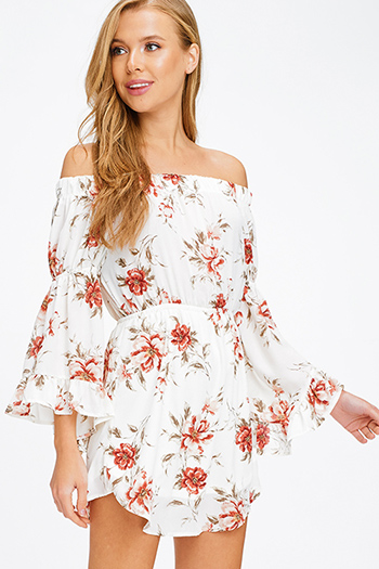 $15 - Cute cheap black ribbed knit surplice faux wrap long slit sleeve wrist tie boho top - Ivory white semi sheer floral print off shoulder long ruffled bell sleeve boho mini sun dress