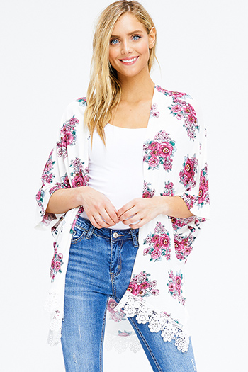 $15 - Cute cheap white and blue tie dye print long dolman sleeve button up boho blouse top - ivory white floral print short dolman sleeve open front boho kimono cardigan top