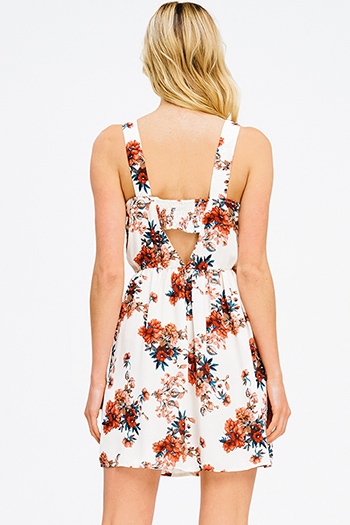 $15 - Cute cheap pleated mini dress - ivory white floral print sleeveless cut out back a line skater boho mini dress