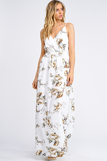 $25 - Cute cheap slit bell sleeve dress - Ivory white floral print sleeveless faux wrap slit evening maxi sun dress
