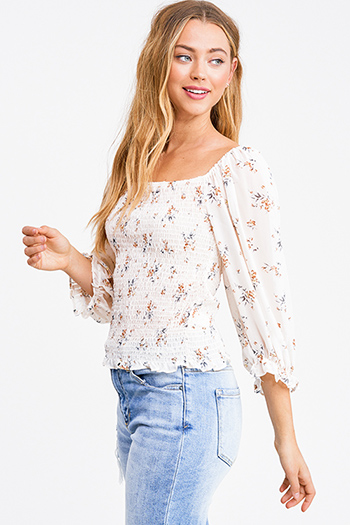 $15 - Cute cheap black ribbed knit surplice faux wrap long slit sleeve wrist tie boho top - Ivory white blush floral print smocked chiffon quarter puff sleeve boho blouse top