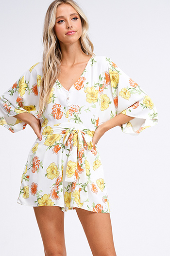 $15 - Cute cheap print boho mini dress - Ivory white floral print v neck short kimono sleeve tie waist boho romper playsuit jumpsuit