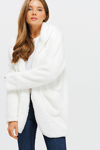 $25 - Cute cheap print fringe jacket - Ivory white fuzzy fleece long sleeve open front pocketed hooded cardigan jacket