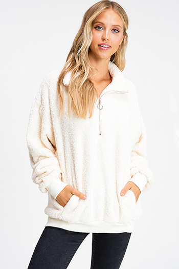 $30 - Cute cheap brown plaid print flannel long sleeve frayed hem button up blouse tunic top - ivory white fuzzy fleece long sleeve quarter zip pocketed pullover teddy jacket