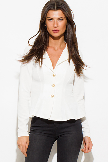 $15 - Cute cheap white checker grid print button up long sleeve boho blouse top - ivory white golden button long sleeve fitted peplum blazer jacket top