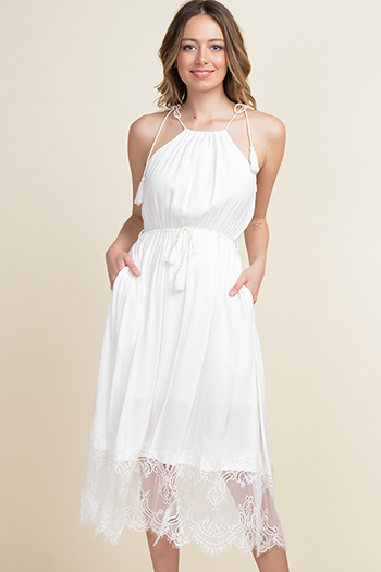 $20 - Cute cheap white jersey knit sleeveless fringe asymmetrical hem boho tank top - Ivory white halter tie waist lace hem pocketed boho sexy party midi dress