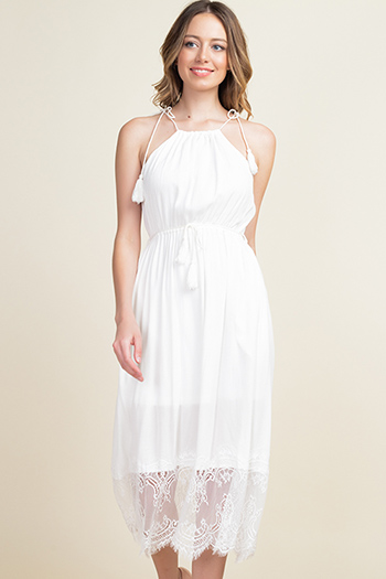 $12 - Cute cheap ruched sexy club mini dress - Ivory white halter tie waist lace hem pocketed boho party midi dress