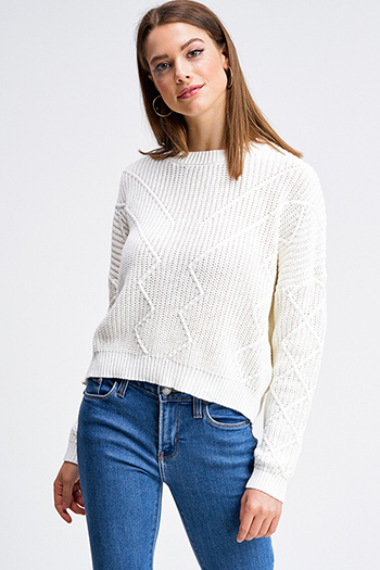 $20 - Cute cheap slit bodycon sweater - Ivory white jacquard knit crew neck long sleeve cropped boho sweater top