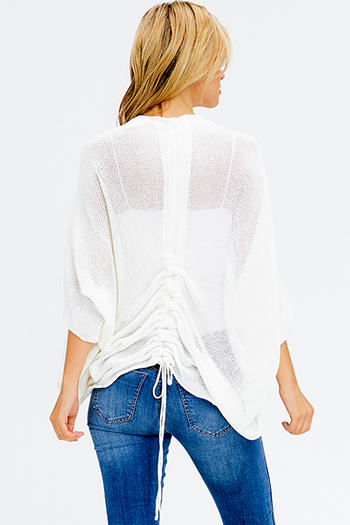 $15 - Cute cheap ivory white textured semi sheer chiffon cut out laceup long sleeve button up blouse top - ivory white knit dolman sleeve ruched back boho shrug cardigan top