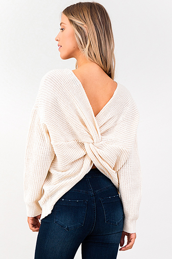 $25 - Cute cheap white high neck fitted sexy party crop top - ivory beige knit long sleeve v neck twist knotted back boho sweater top