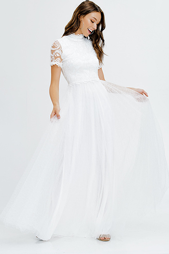 $40 - Cute cheap crepe slit sexy party dress - ivory white lace bodice mock neck short sleeve tulle a line formal ball gown evening party dress