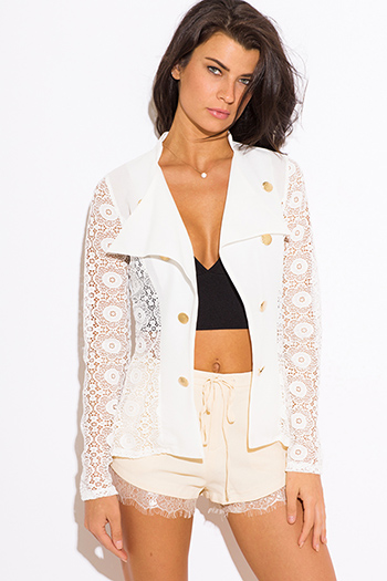 $25 - Cute cheap ivory white sheer stripe mesh contrast asymmetrical zip up moto blazer jacket top - ivory white lace golden button open blazer jacket top