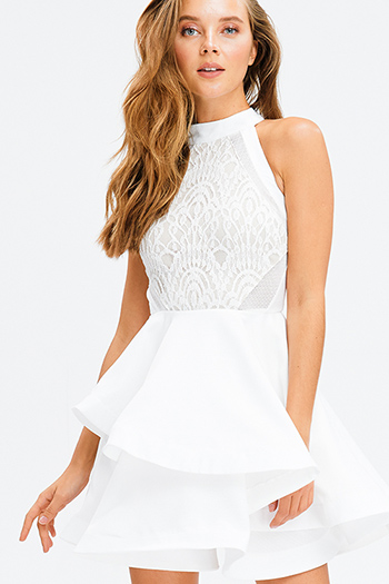 $15 - Cute cheap open back fitted sexy party catsuit - ivory white lace halter mock neck racer back ruffle tiered hem cocktail party mini dress