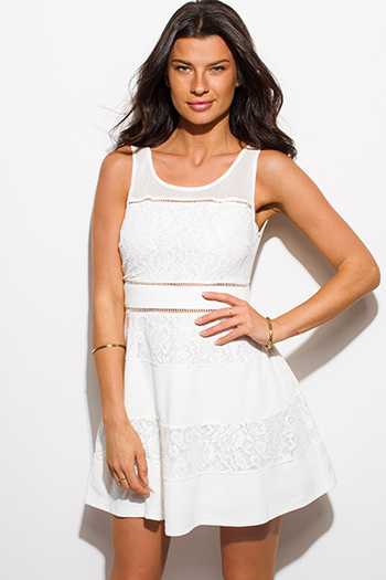 $15 - Cute cheap white crepe sexy party dress - ivory white lace mesh panel keyhole cut out back a line skater cocktail party mini dress