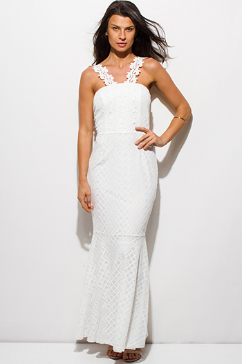 $12 - Cute cheap print chiffon sheer dress - ivory white lace scallop lace strap mermaid formal evening maxi dress