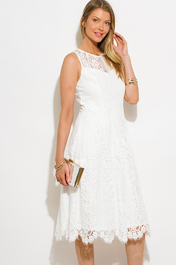 $20 - Cute cheap white backless slit dress - ivory white lace sleeveless scallop hem a line cocktail sexy party boho midi dress