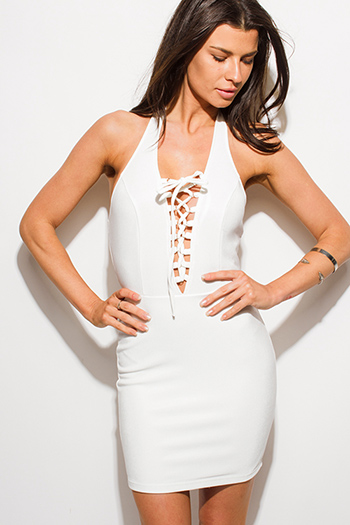 $9 - Cute cheap off shoulder crochet dress - ivory white laceup halter backless bodycon fitted sexy club mini dress