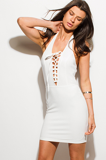 $15 - Cute cheap black white floral jacquard bejeweled mesh panel fitted bodycon pencil party mini dress - ivory white laceup halter backless bodycon fitted sexy club mini dress