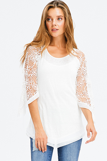 $15 - Cute cheap blue crochet top - ivory white linen sheer crochet lace quarter length sleeve chiffon asymmetric hem boho top
