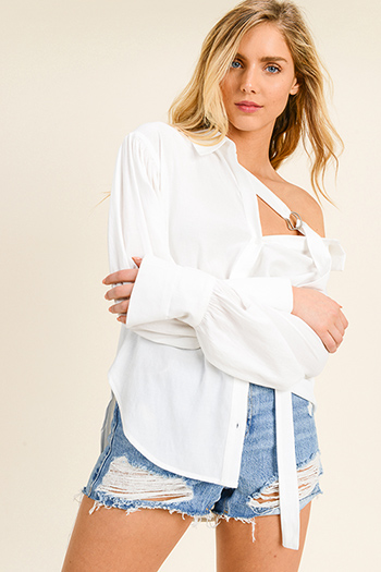 $13 - Cute cheap ruched blouse - Ivory white long sleeve buckle tie neck button up boho blouse top