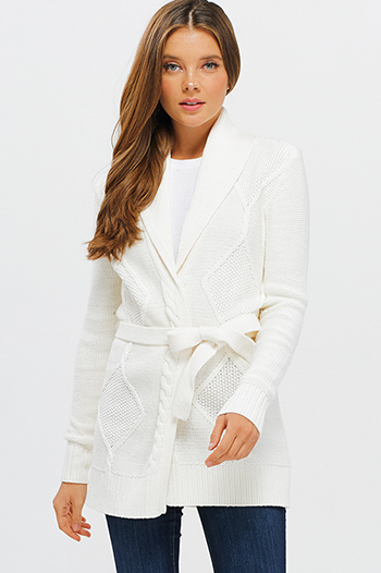 $20 - Cute cheap white jumpsuit - ivory white long sleeve cable knit tie waist boho sweater cardigan