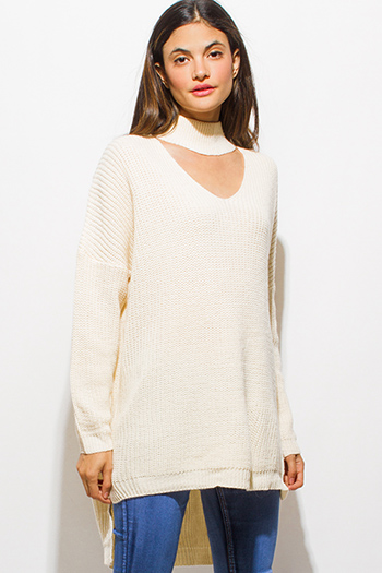 $20 - Cute cheap career wear - ivory white long sleeve choker mock neck cut out high low hem sweater knit top