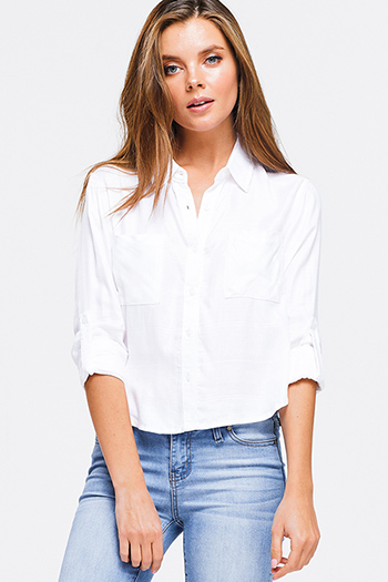 $15 - Cute cheap sheer long sleeve blouse - Ivory white long sleeve crop button up blouse top