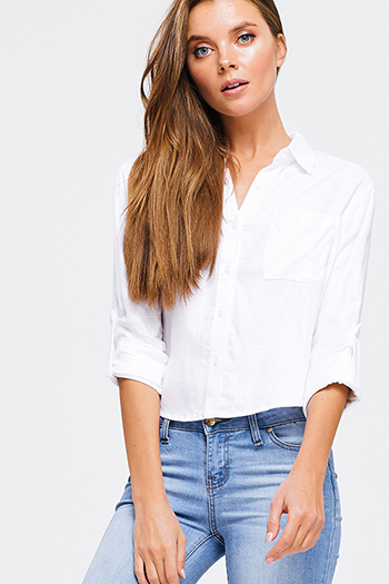 $10 - Cute cheap black pinstripe collarless short cuffed cap sleeve zip up blouse top - Ivory white checkered textured long sleeve crop button up blouse top