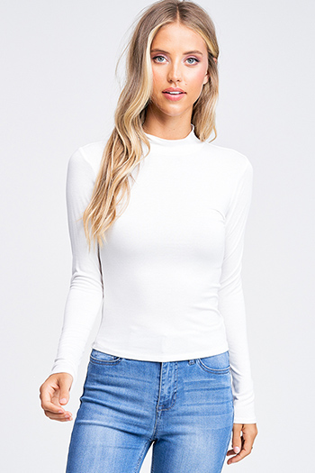 $15 - Cute cheap boho crochet long sleeve top - Ivory white long sleeve fitted mock neck basic knit top