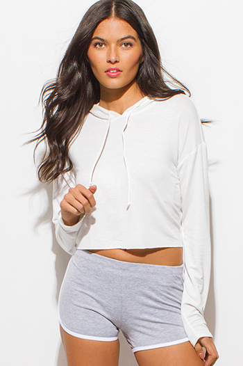 $15 - Cute cheap clothes - ivory white long sleeve hoodie crop sweatshirt top