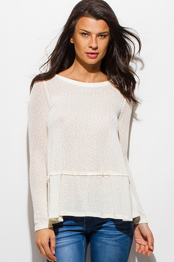 $15 - Cute cheap white ruffle crop top - ivory white long sleeve keyhole back sweater knit top