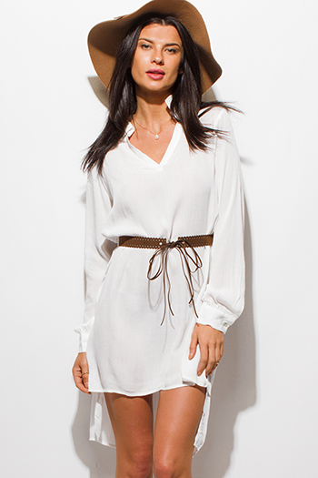 $15 - Cute cheap crochet skater mini dress - ivory white long sleeve v neck belted high low hem boho tunic mini shirt dress