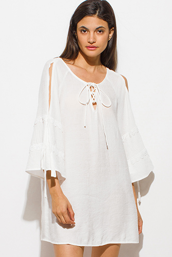 $15 - Cute cheap white chiffon shirred smocked flutter bell sleeve boho crop blouse top - ivory white long slit tiered angel bell sleeve keyhole tie front boho peasant mini dress
