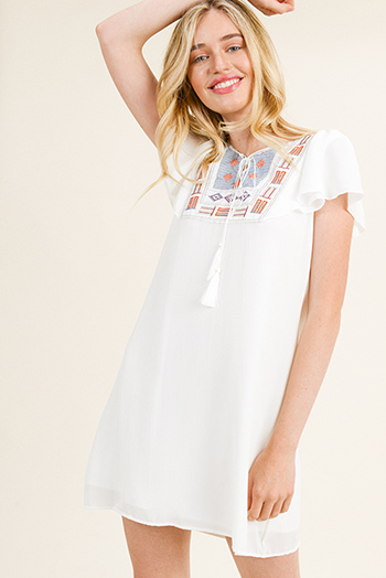 $15 - Cute cheap white v neck ruffle sleeveless belted button trim a line boho sexy party mini dress - Ivory white metallic embroidered panel flutter short sleeve boho peasant mini dress