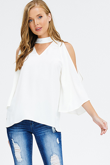 $15 - Cute cheap white and blue tie dye print long dolman sleeve button up boho blouse top - ivory white mock neck cut out slit quarter bell sleeve keyhole back boho blouse top