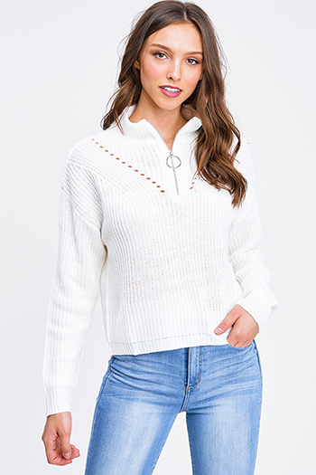 $25 - Cute cheap navy blue rust plaid pocket front button long sleeve up boho blouse top - Ivory white mock neck quarter zip up boho retro ribbed sweater top