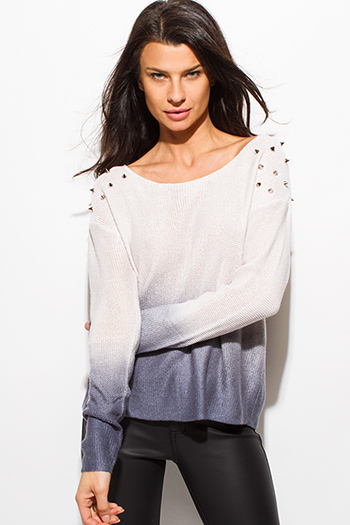 $15 - Cute cheap white sheer crochet top - ivory white navy blue ombre tie dye long sleeve spike studded sweater knit top