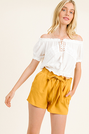 $15 - Cute cheap mustard yellow twist knot front short sleeve tee shirt crop top - Ivory white off shoulder crochet lace applique boho peasant crop top
