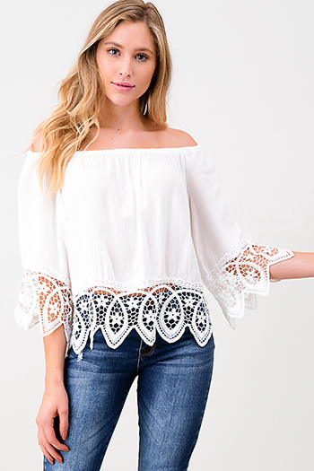 $12.00 - Cute cheap white denim a line high waisted fitted pocketed boho flare overalls jumpsuit - Ivory white off shoulder quarter sleeve crochet lace trim resort boho top