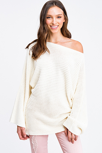 $25 - Cute cheap black ribbed knit long dolman sleeve surplice faux wrap belted sweater mini dress - Ivory white off shoulder waffle knit long dolman sleeve boho sweater tunic top