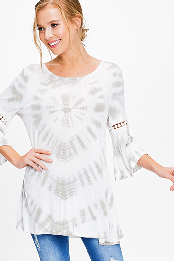$13 - Cute cheap boho - Ivory white olive green tie dye quarter bell sleeve crochet trim boho tunic top