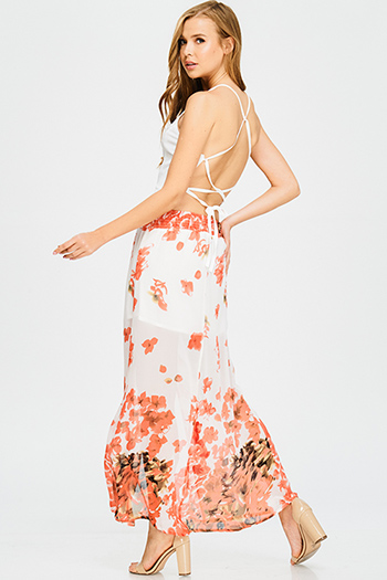 $15 - Cute cheap fitted cocktail mini dress - ivory white peach halter chiffon floral print slit front criss cross backless evening maxi sun dress
