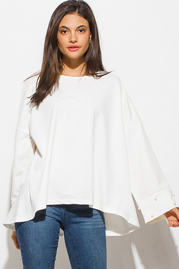 $15 - Cute cheap black long sleeve faux leather patch ribbed slub tee shirt top - ivory white pearl studded long bell sleeve boho sexy party oversized knit top