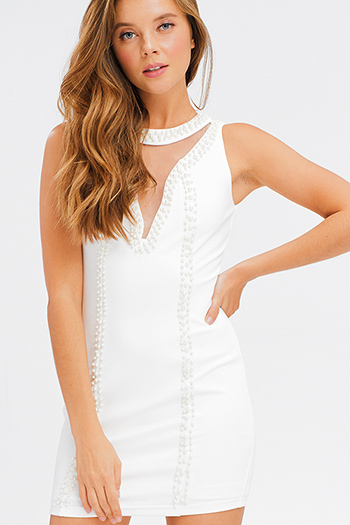 $20 - Cute cheap slit fitted midi dress - Ivory white pearl studded mesh cut out sleeveless bodycon fitted sexy club mini dress