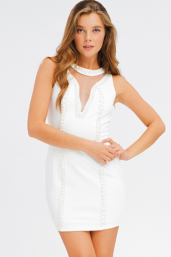 $15 - Cute cheap print crochet mini dress - Ivory white pearl studded mesh cut out sleeveless bodycon fitted sexy club mini dress