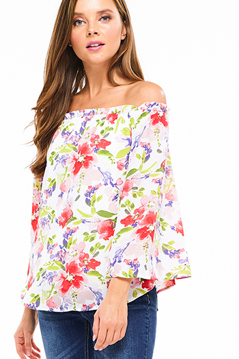 $15 - Cute cheap white high neck fitted sexy party crop top - Ivory white pink watercolor floral print off shoulder wide sleeve boho party top