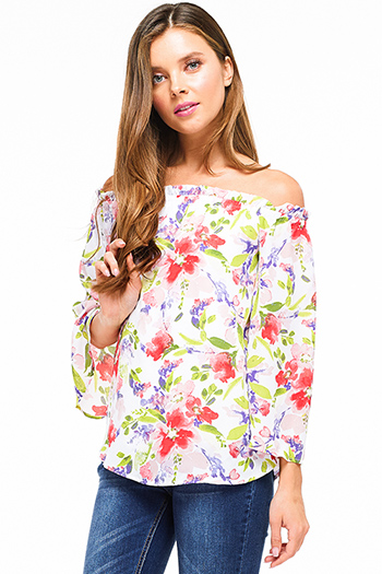 $12 - Cute cheap light blue tencel embroidered off shoulder short sleeve frayed hem boho crop top - Ivory white pink watercolor floral print off shoulder wide sleeve boho sexy party top