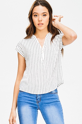 $15 - Cute cheap dark navy blue floral print tie neck quarter sleeve boho blouse top - ivory white pinstripe collarless short cuffed cap sleeve zip up blouse top