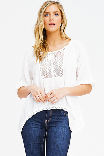 $15 - Cute cheap white low neck short sleeve slub tee shirt top - ivory white quarter length dolman sleeve crochet trim tie front boho peasant blouse top